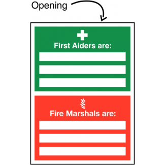 First Aider - Fire Marshal Update Sign