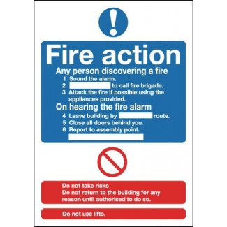 Fire Action Mandatory Signs