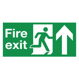 Fire Exit Running Man Straight Ahead Sign