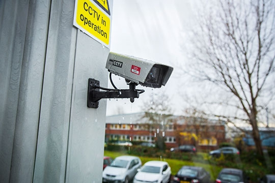 Aluminium Asset Tag on outdoor CCTV camera