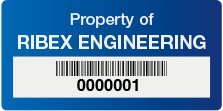 Blue Tag with Barcodes