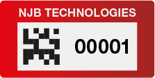 Red Tag with 2D Barcode