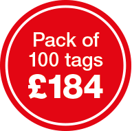 Pack of 100 tags for £184
