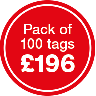 Pack of 100 tags for £196