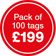 Pack of 100 tags for £199