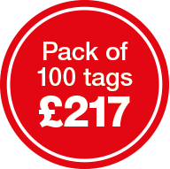 Pack of 100 tags for £217