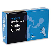 Latex and powder free nitrile medical gloves in a box