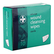 Wound cleansing wipes in green box