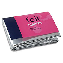 Folded emergency foil blanket in packaging