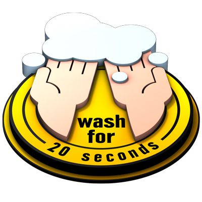3D Floor Marker - Wash For 20 Seconds - Yellow