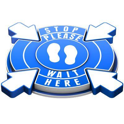 3D Floor Marker - Stop Please Wait Here - Blue