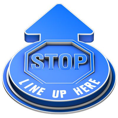 3D Floor Marker - Stop Line Up Here - Blue