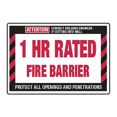 1 Hour Rated Fire Barrier - Fire Wall Warning Signs