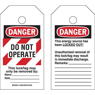 Do Not Operate Lockout Tag - Striped