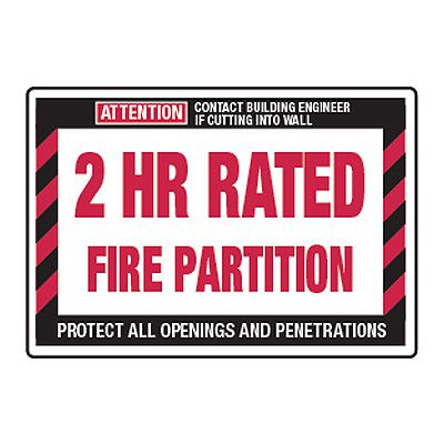 2 Hour Rated Fire Partition - Fire Wall Warning Signs