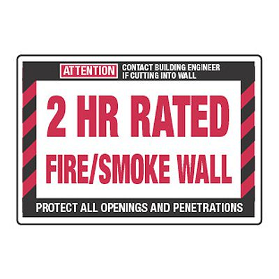 2 Hour Rated Fire/Smoke Wall - Fire Wall Warning Signs