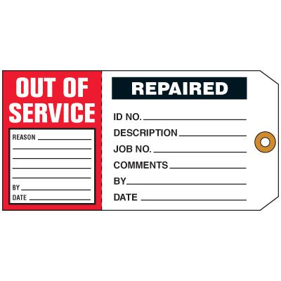 Out of Service/Repaired 2-in-1 Status Tag