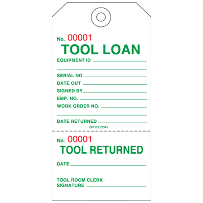2-Part Production Status Tags - Tool Loan