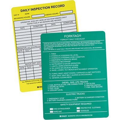 Forklift Daily Inspection Record Tag Insert