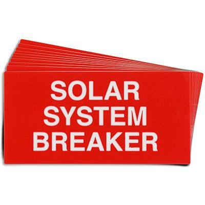 Solar System Breaker Solar Warning Labels
