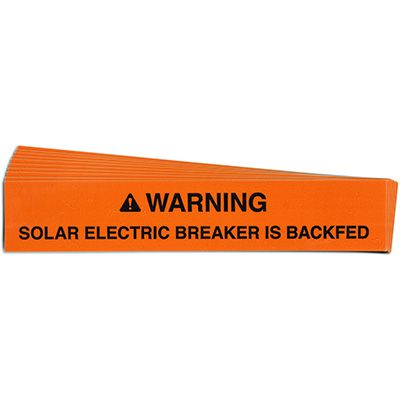 Warning: Solar Electric Breaker Solar Warning Labels