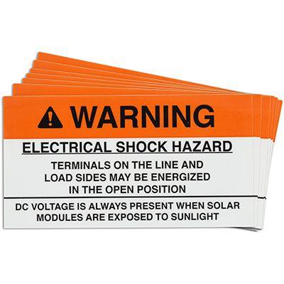 Open Terminals Solar Warning Labels