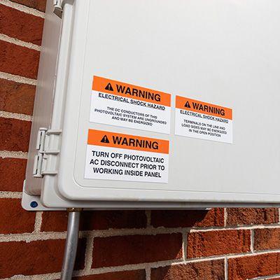 Warning: Electrical Shock Hazard Solar Warning Labels