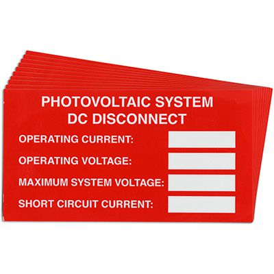 Photovoltaic System Solar Warning Labels