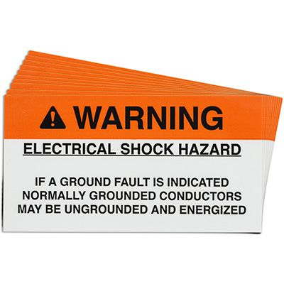 Ground Fault Solar Warning Labels