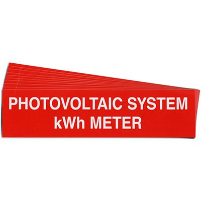 Photovoltaic System kWh Meter Solar Warning Labels