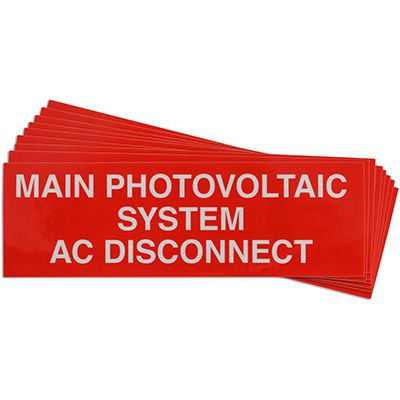 Main Photovoltaic System AC Disconnect Solar Warning Labels
