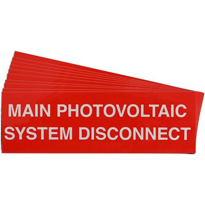 Main Photovoltaic System Disconnect Solar Warning Labels
