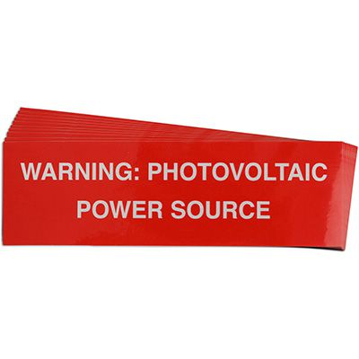 Warning: Photovoltaic Power Source Solar Warning Labels