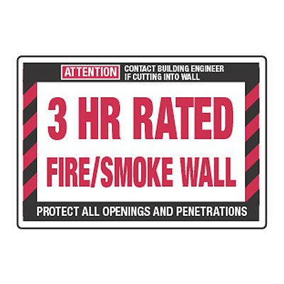 3 Hour Rated Fire/Smoke Wall - Fire Wall Warning Signs