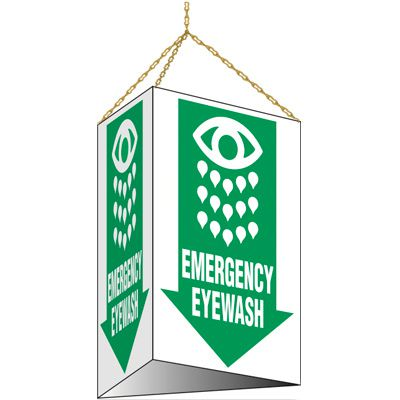 3-Sided Hanging Emergency Eyewash Sign