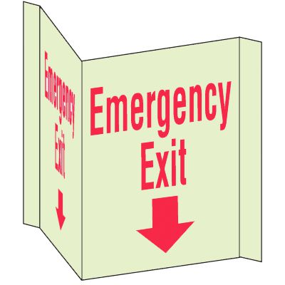 3-Way View Fire Safety Signs - Emergency Exit