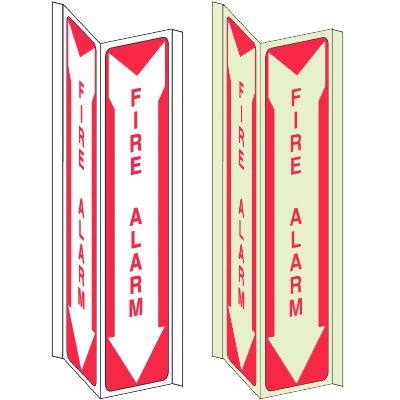 3-Way View Fire Safety Signs - Fire Alarm (In Down Arrow)