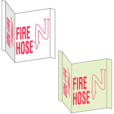 3-Way View Fire Safety Signs - Fire Hose