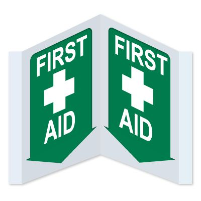 3-Way View First Aid Signs - First Aid