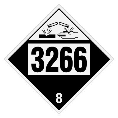 3266 Corrosive Liquid, Basic, Inorganic - DOT Placards