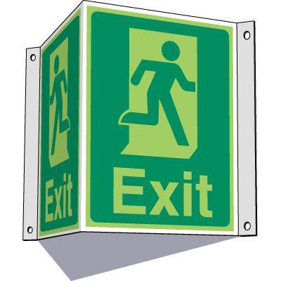3-Way Running Man Exit Sign