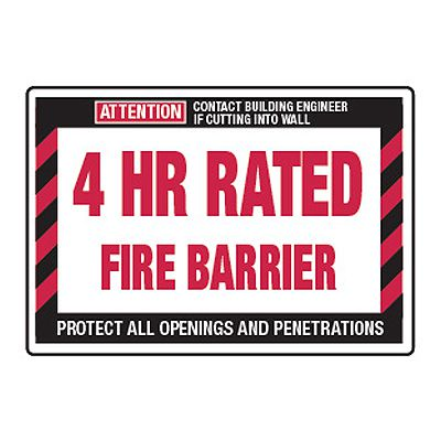 4 Hour Rated Fire Barrier - Fire Wall Warning Signs