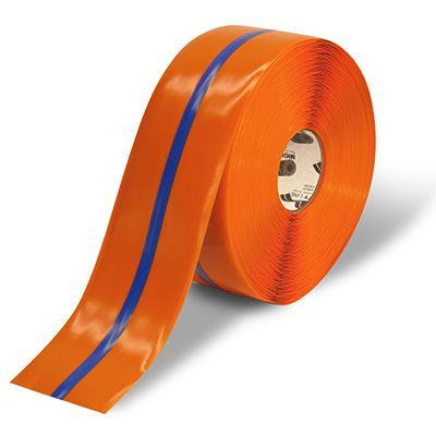4 Orange Mighty Line Safety Floor Tape with Blue Center Line