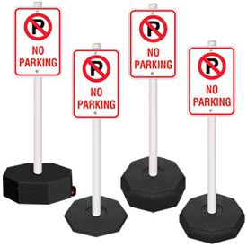 5 Ft. PVC Stanchion Systems - No Parking Sign, Post and Base