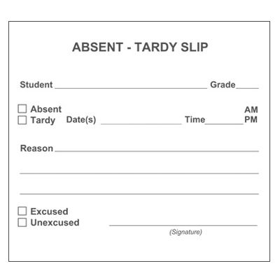 Absent-Tardy Admit Slip - School Forms and Passes