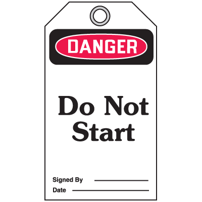 Accident Prevention Safety Tags - Danger Do Not Start