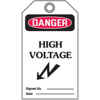 Accident Prevention Safety Tags - Danger High Voltage