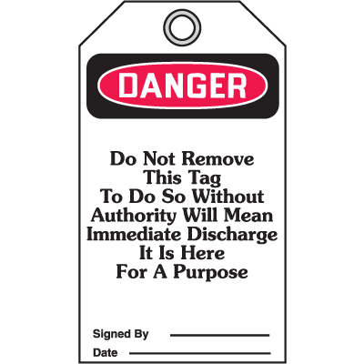 Accident Prevention Safety Tags - Danger Header Only