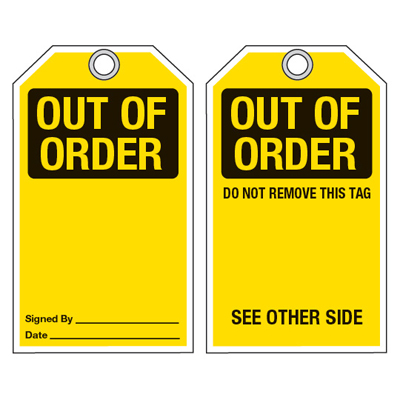 Accident Prevention Ultra-Tags - Out Of Order