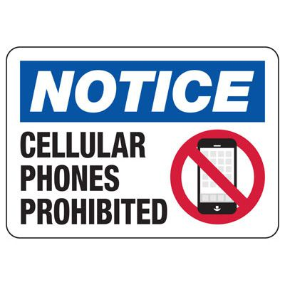 Cellular Phones Prohibited - Restriction Signs